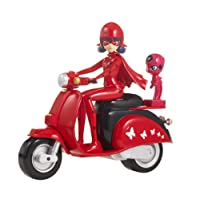 Bandai Ladybug Son Scooter Miraculous Figurine, 39880, Rouge Noir