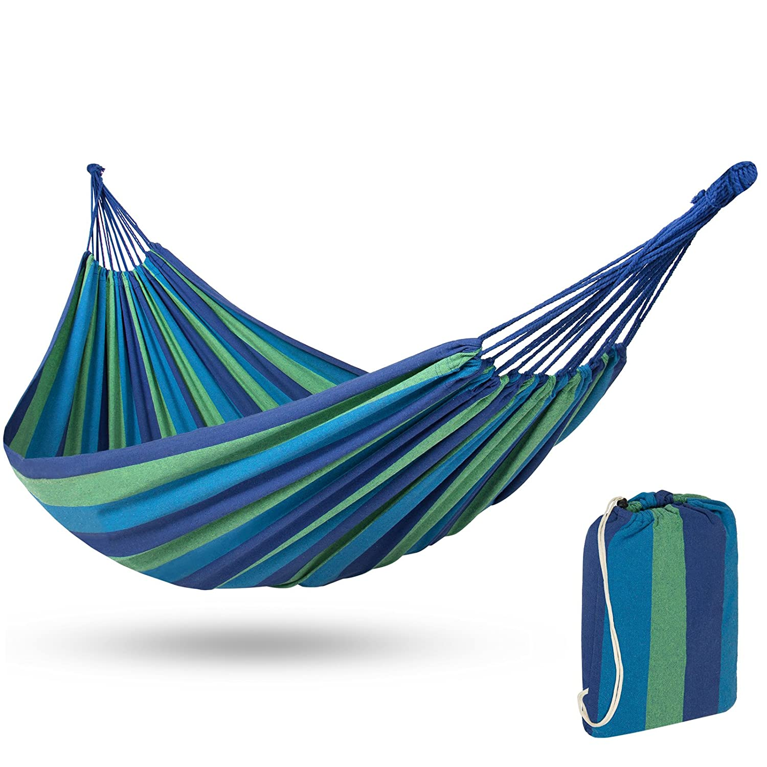 Best Choice Products 2-Person Brazilian Double Hammock Bed w Carrying Bag for Backyard, Patio, Indoor Outdoor Use, Cross-Woven Cotton Fabric for Comfort – Blue