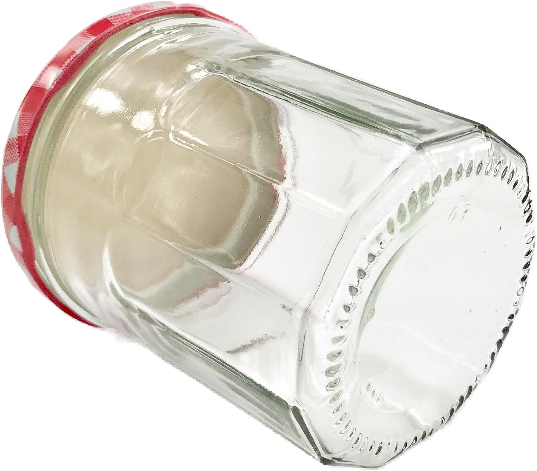 20 Mini Round Glasses 37ml Marmalade Jars Lids einweckglas Red Check