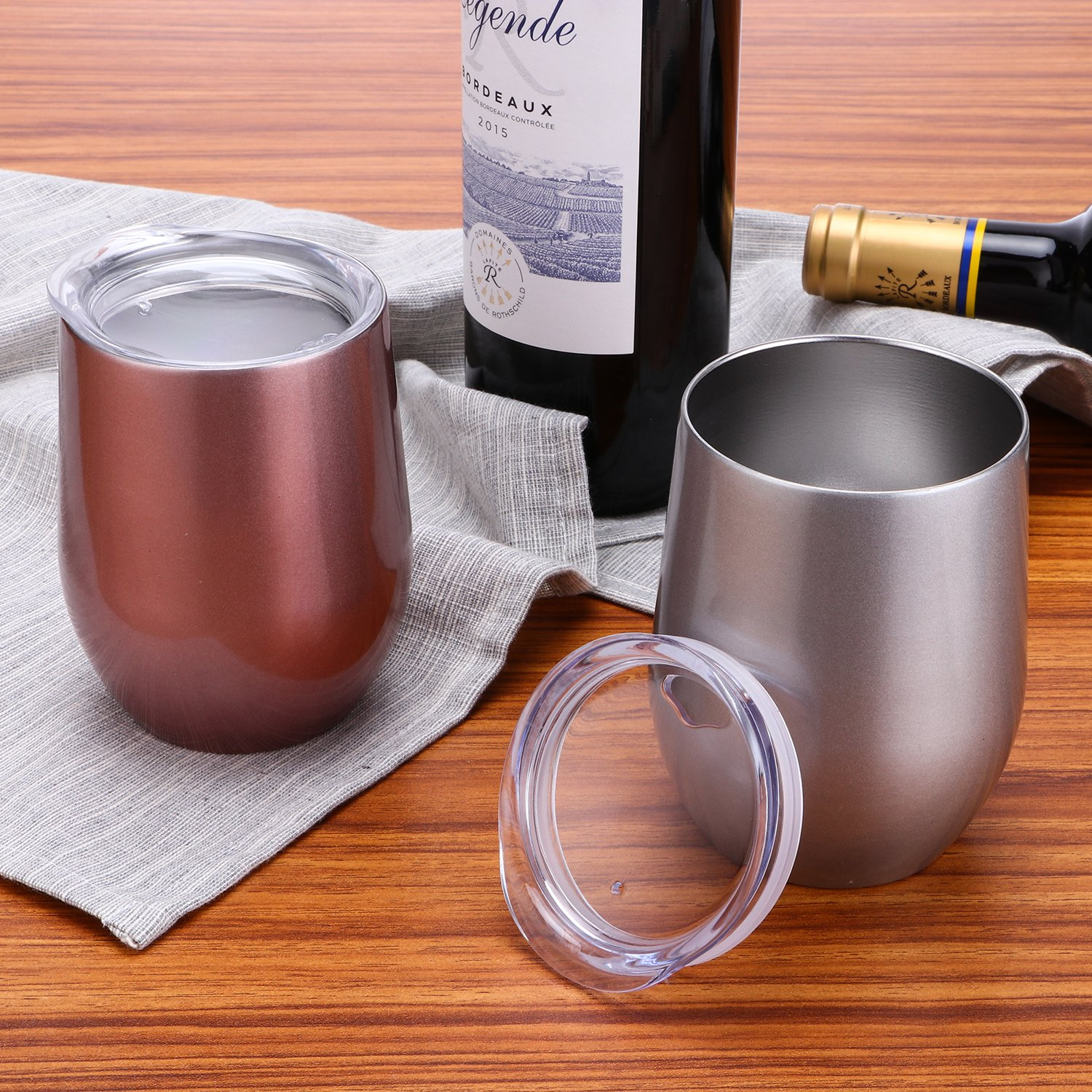 Coffee Drinks Champagne Cocktails,2 Sets TOMTOO Insulated Wine Tumbler With Lid,12 oz Double Wall Vacuum Insulated Stainless Steel Wine Glasses for Wine A-Rose Gold 2 Pack, 12 oz