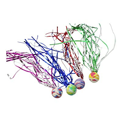 Curious Minds Busy Bags Bulk 12 Bouncy Super Balls with Streamers - Party Favors or Classroom Rewards: Toys & Games