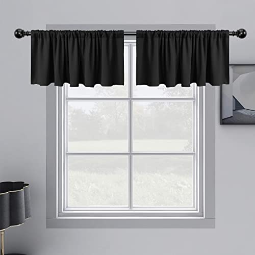 WONTEX Kitchen Curtains Valances, 60 x 18 inch Long, Black, Set of 2 Pieces – Short Thermal Blackout Curtains for Small Window, Room Darkening Rod Pocket Cafe Curtain Panels