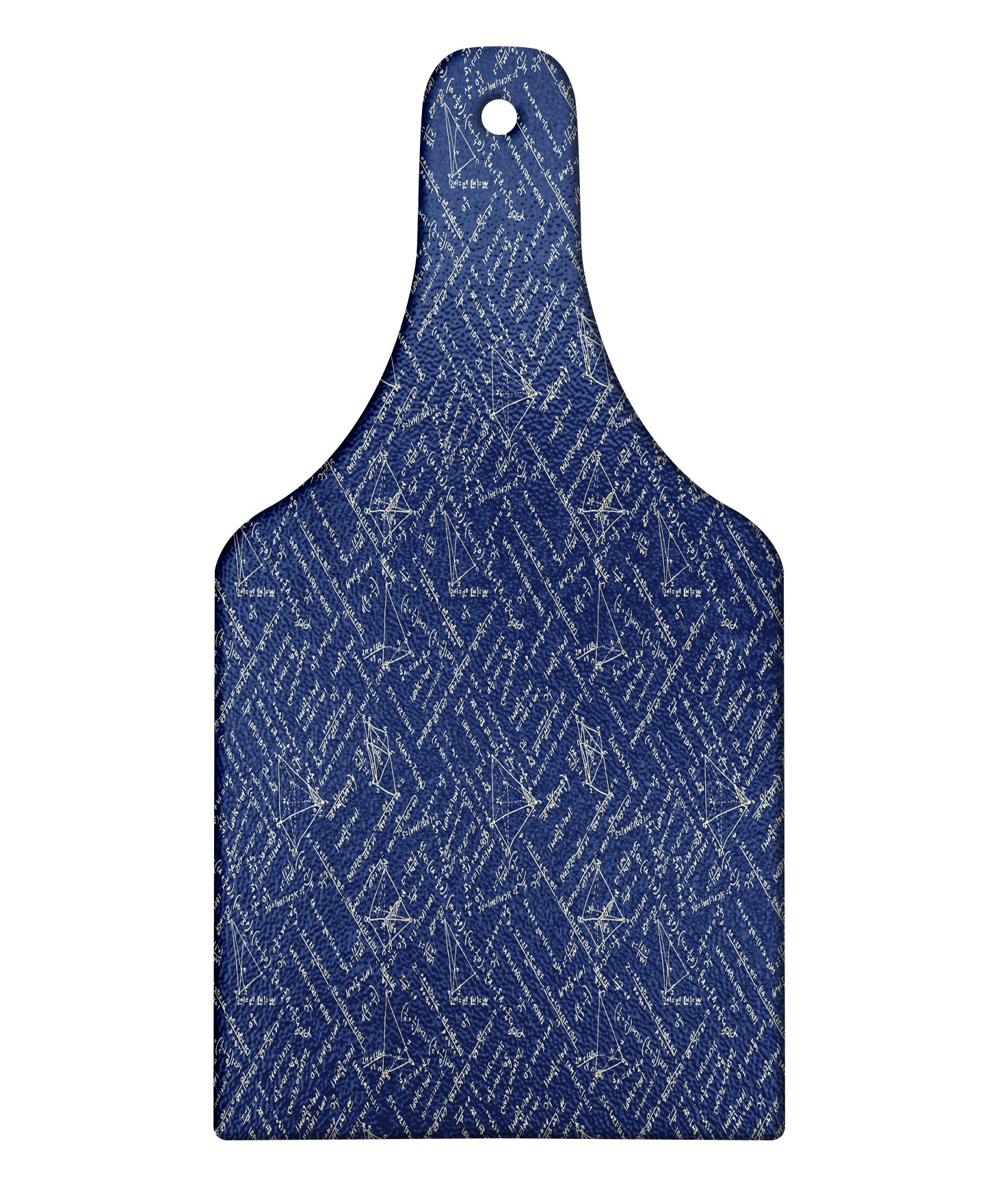 Lunarable Math Cutting Board, School Themed Equations Division and Geometrical Shapes on Dark Toned Backdrop, Decorative Tempered Glass Cutting and Serving Board, Wine Bottle Shape, Violet Blue Beige
