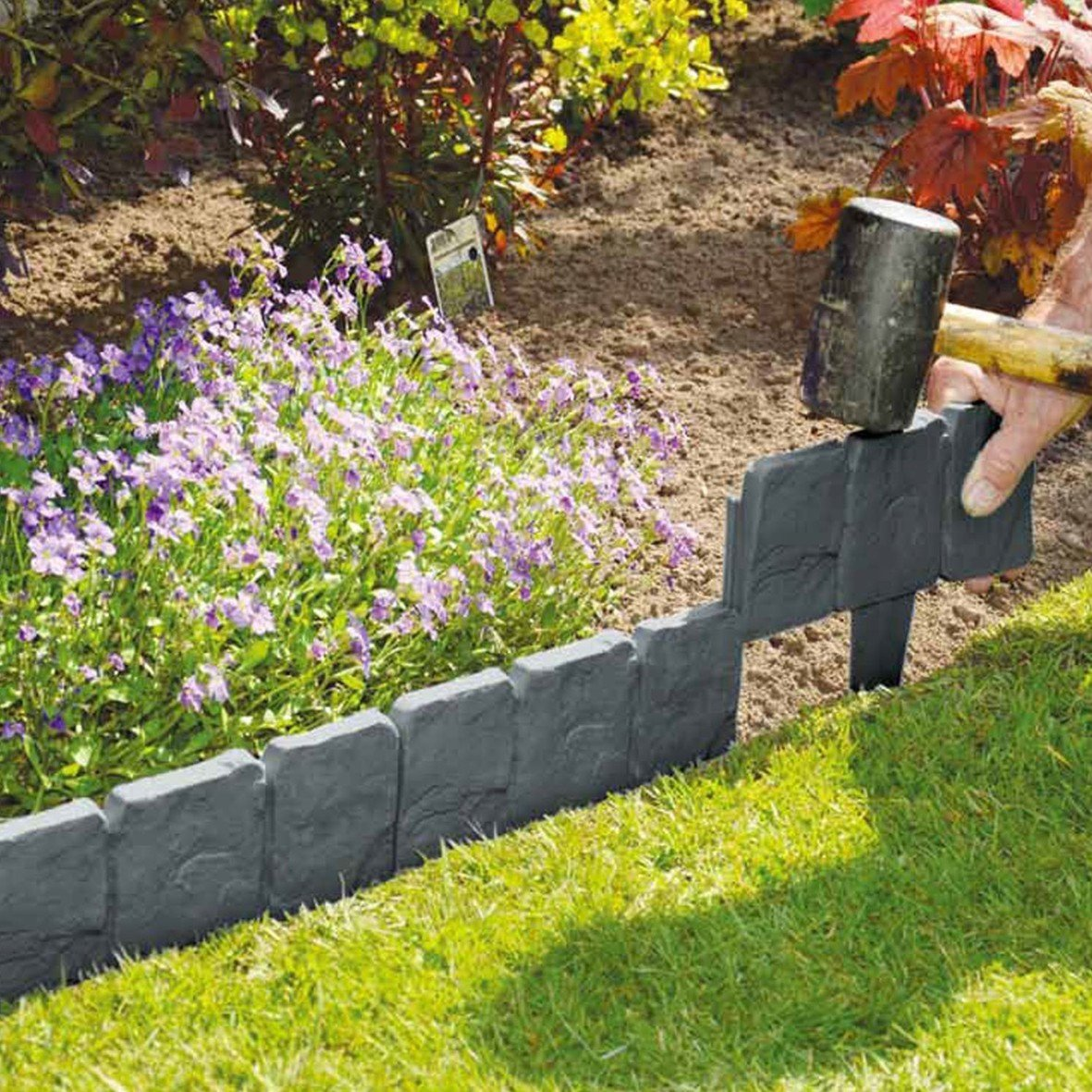 20 Pack Grey Cobbled Stone Effect Plastic Garden Lawn Edging Plant Border 5M (20) Mooin Joinin
