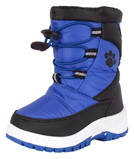 Rugged Bear Boys PAW Print Snow Boot Black Blue 13
