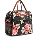CoolBELL Lunch Bag Flowral Lunch Tote Water-Resistant Cooler Bag Soft Leak Proof Lunch Box Insulated Lunch Holder With Wide Opening for Women/Girl / Office/School / Camping/Picnic (Peony Flower)