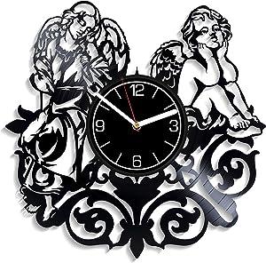 Kovides Angels Vinyl Record Wall Clock Angels Gift for Her Angels Wall Art Angels Clock Angels Wall Clock Modern Angels Gift Angels Vinyl Clock Angels Home Decoration 12 inch Wall Clock