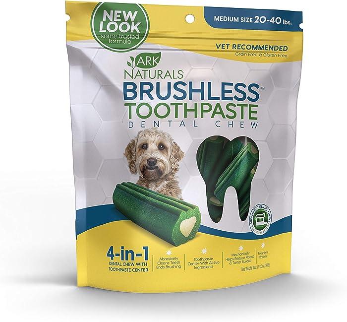 Ark Naturals Brushless Toothpaste, Dog Dental Chews for Medium Breeds, Vet Recommended for Plaque, Bacteria & Tartar Control