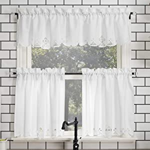 No. 918 Mariela Floral Trim Semi-Sheer Rod Pocket Kitchen Curtain Valance and Tiers Set, 58