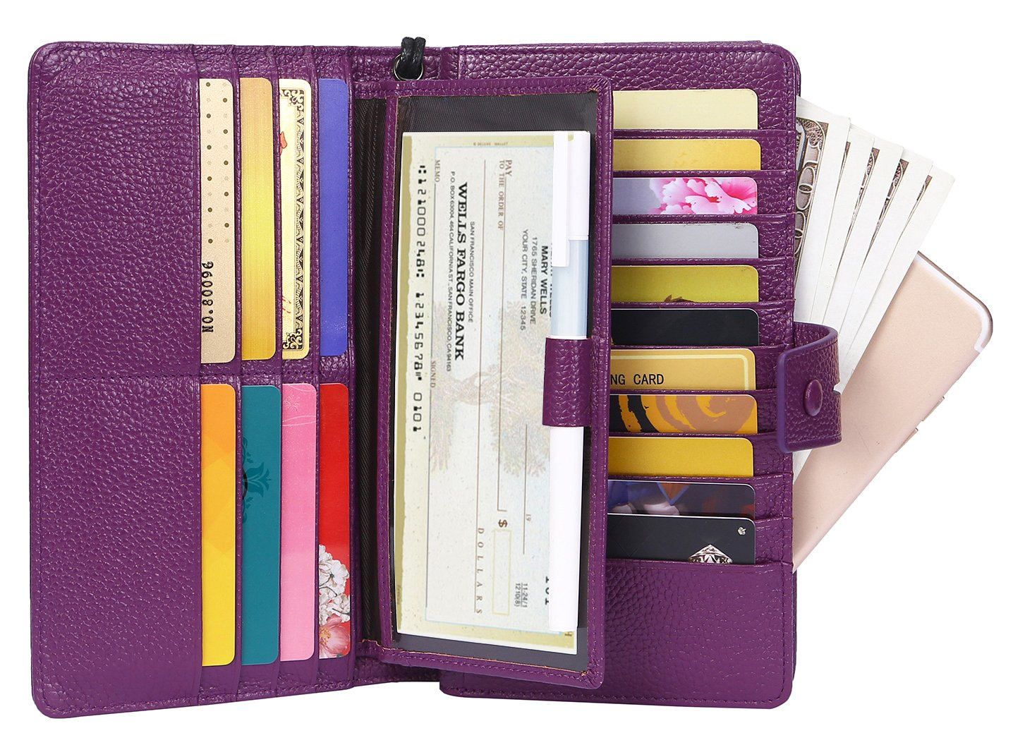 AINIMOER Women's Big RFID Blocking Leather Zip Around Wallets for Womens Clutch Organizer Checkbook Holder Large Travel Purse(Lichee Purple) by AINIMOER (Image #1)
