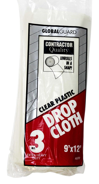Premier 9' x 12' 1 MIL Clear Plastic Drop Cloth Rolled, 3 Pack, 69730 Premier Paint Roller
