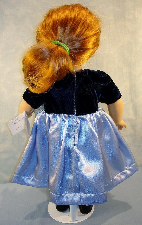 Navy Velvet Blue Satin Holiday Christmas Dress handmade by Jane Ellen for 18 inch dolls 18 Inch Doll Clothes