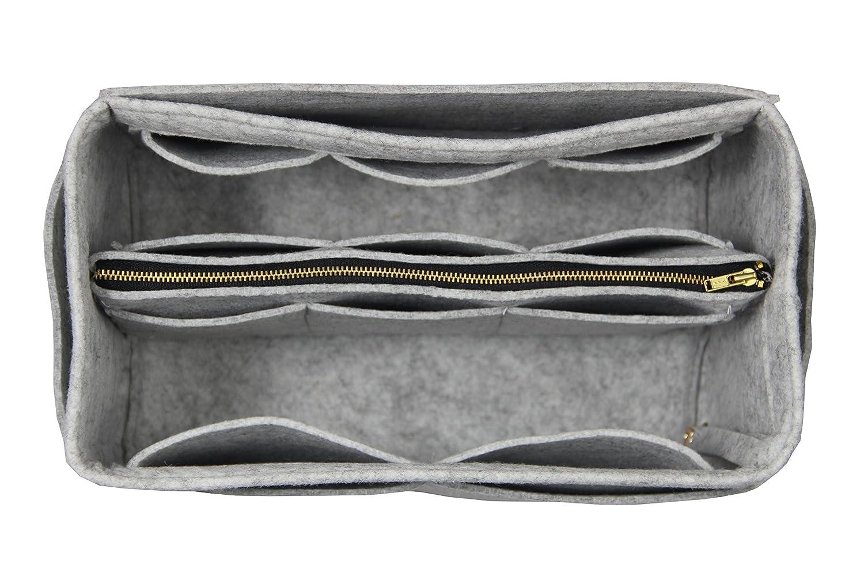 [Fits Le Pliage Tote Bag L, Grey] Purse Insert (3mm Felt, Detachable Pouch w/Metal Zip), Felt Tote Bag Organizer