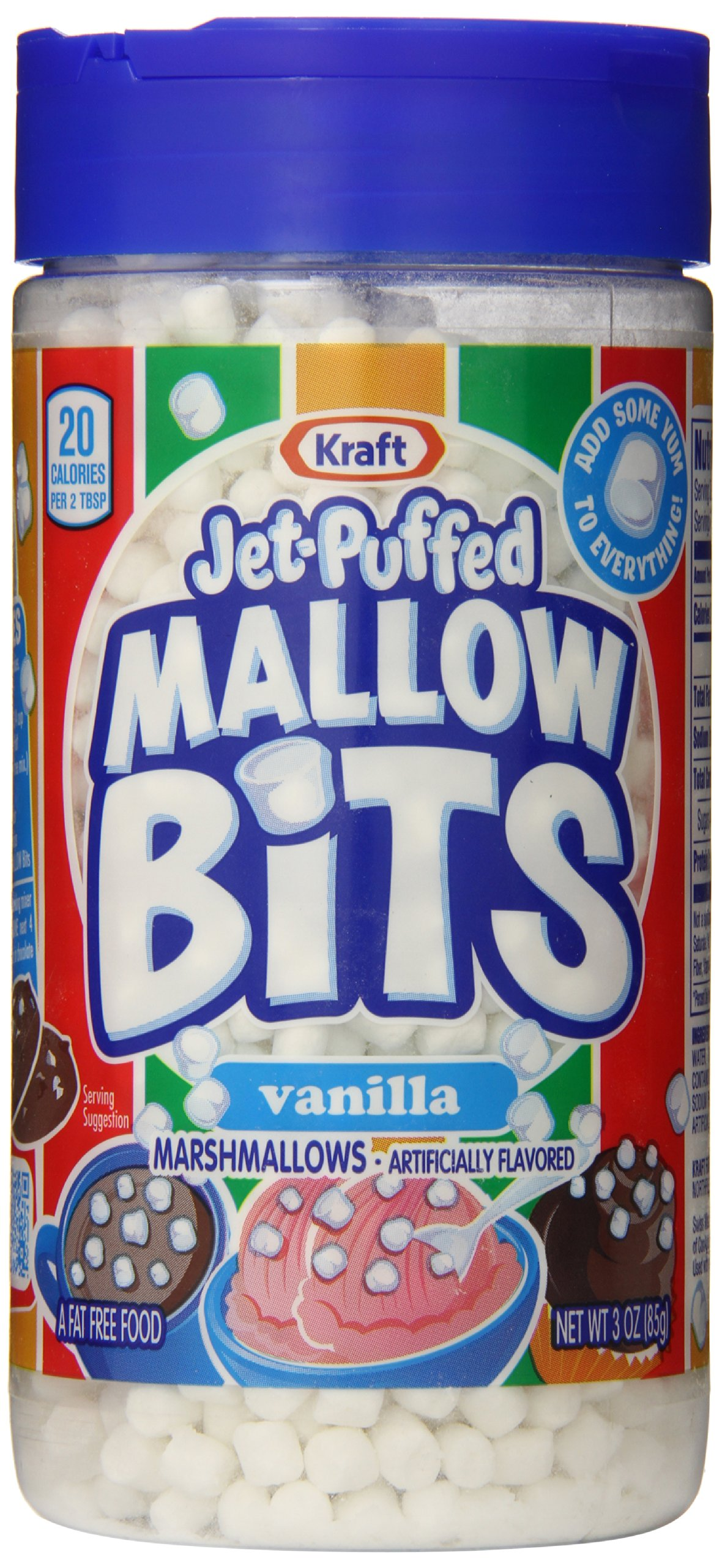Jet-Puffed Marshmallow Bits, Vanilla, 3 Ounce Container (Pack of 6)