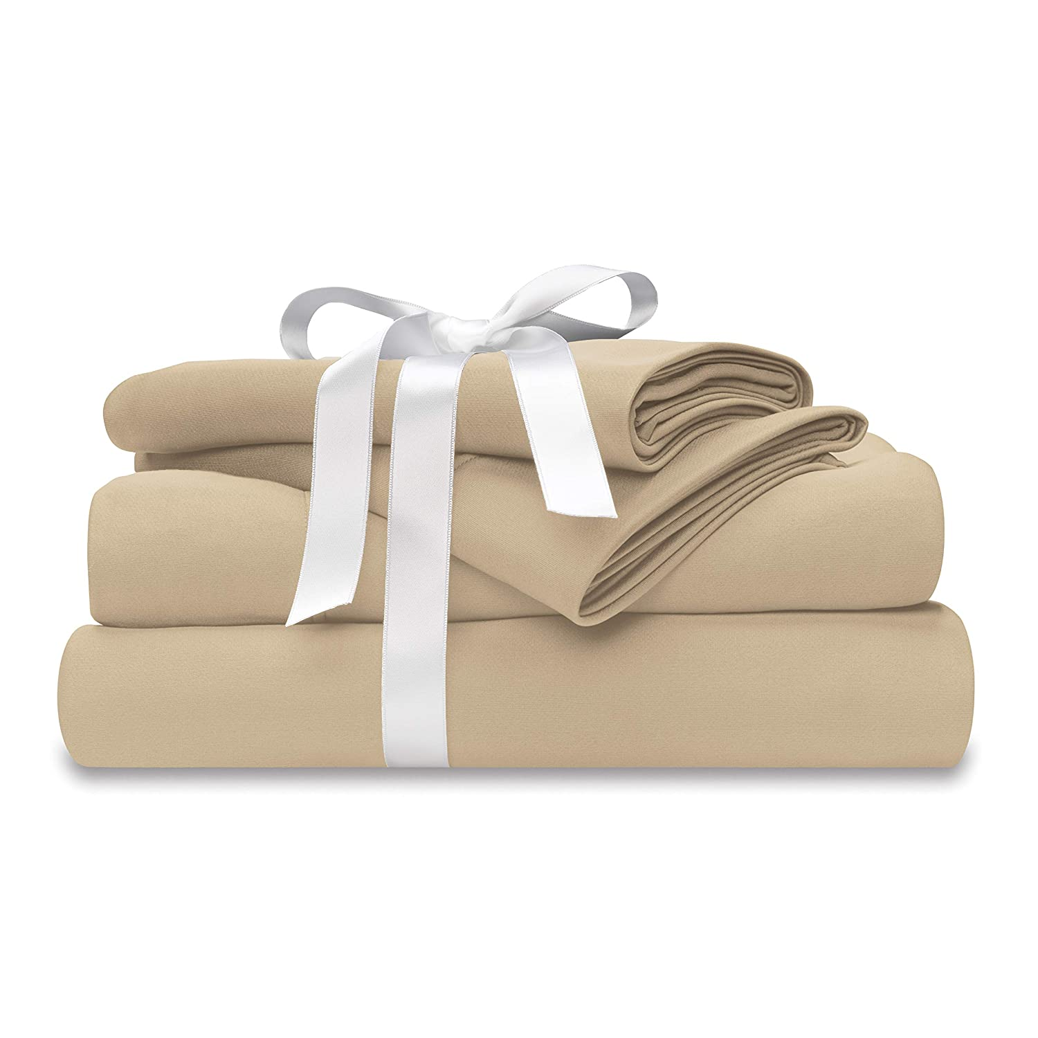Wicked Sheets Moisture-Wicking + Cooling Bed Sheet Set/for Night Sweats & Hot Flashes (Queen, Standard Pocket, Beige)