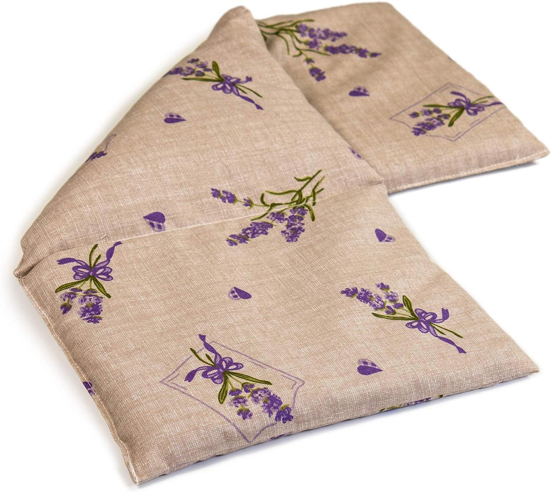 Almohada térmica compartimentado en 3 con semillas de colza 20x50cm - Saco térmico para microondas - Calor y frío - Cojín térmico (color: campestre romantico)