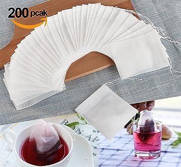 ilauke 200pcs Bolsa de Té de Hierbas de Filtro de Papel Bolsas con Cordón Cierre 7*9cm