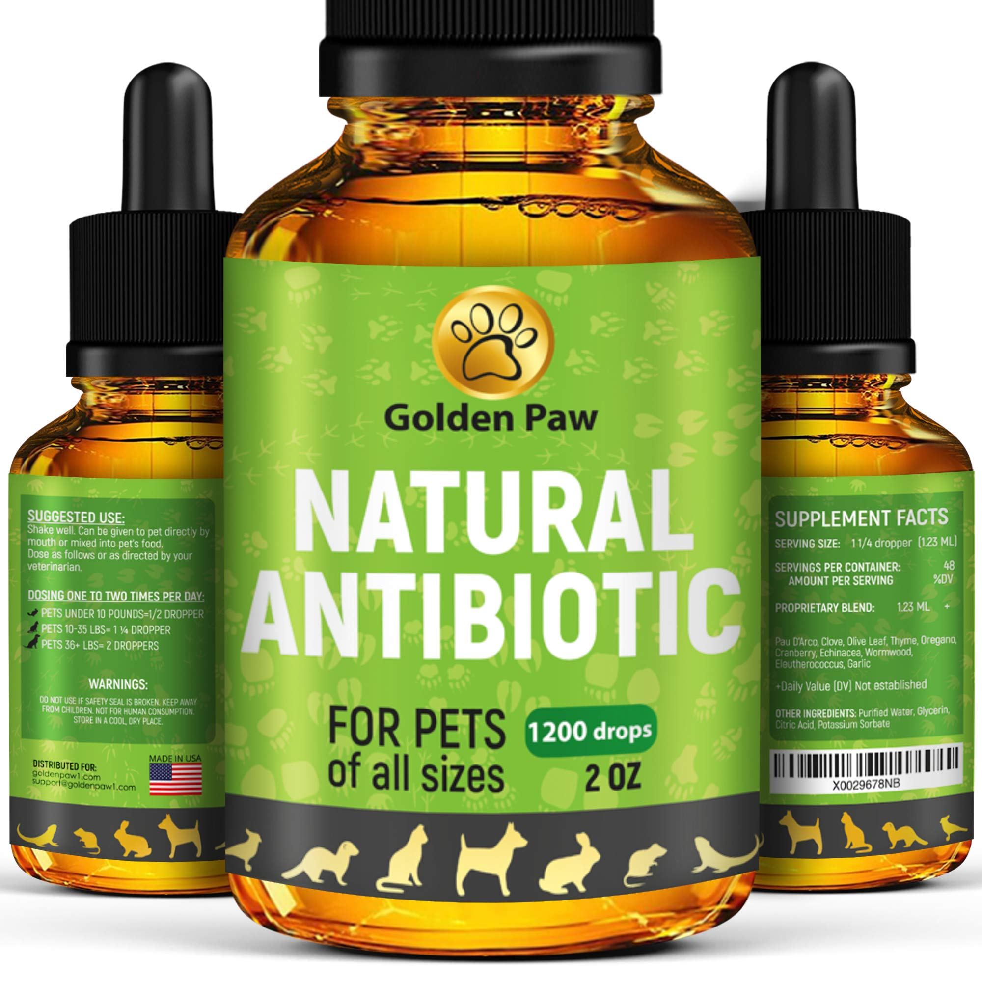 Natural Antibiotic for Dogs - Immune System Booster for Dogs - Kennel Cough Remedy for Pets - UTI Treatment - Allergy Immune Supplement for Pets - Antibiotics Alternative for Cats by GoldenPaw