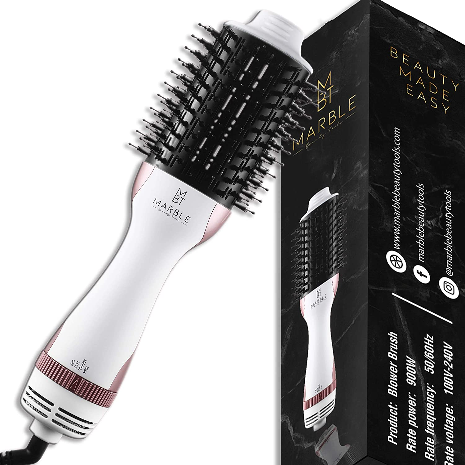 Marble Beauty Tools One Step Hair Dryer Brush, Fast 3 in 1 Hot Air Blower Brush, Straightening Round Brush, Volumizer/Glow Styler Beauty Tool, White Rose Gold Curling Salon Electric Blowout Comb