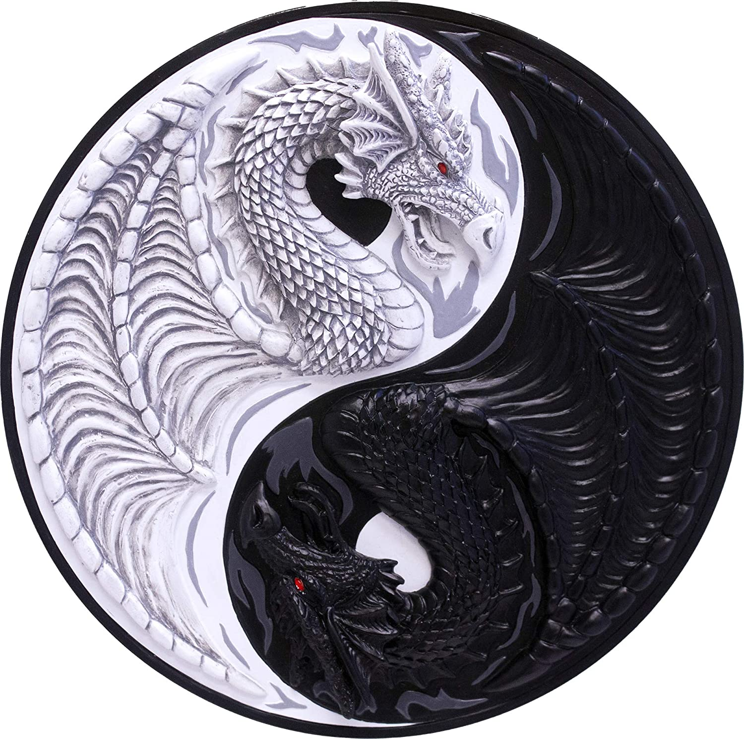 """World of Wonders """"Strength and Harmony"""" Black and White Yin Yang Dragons Wall Sculpture 