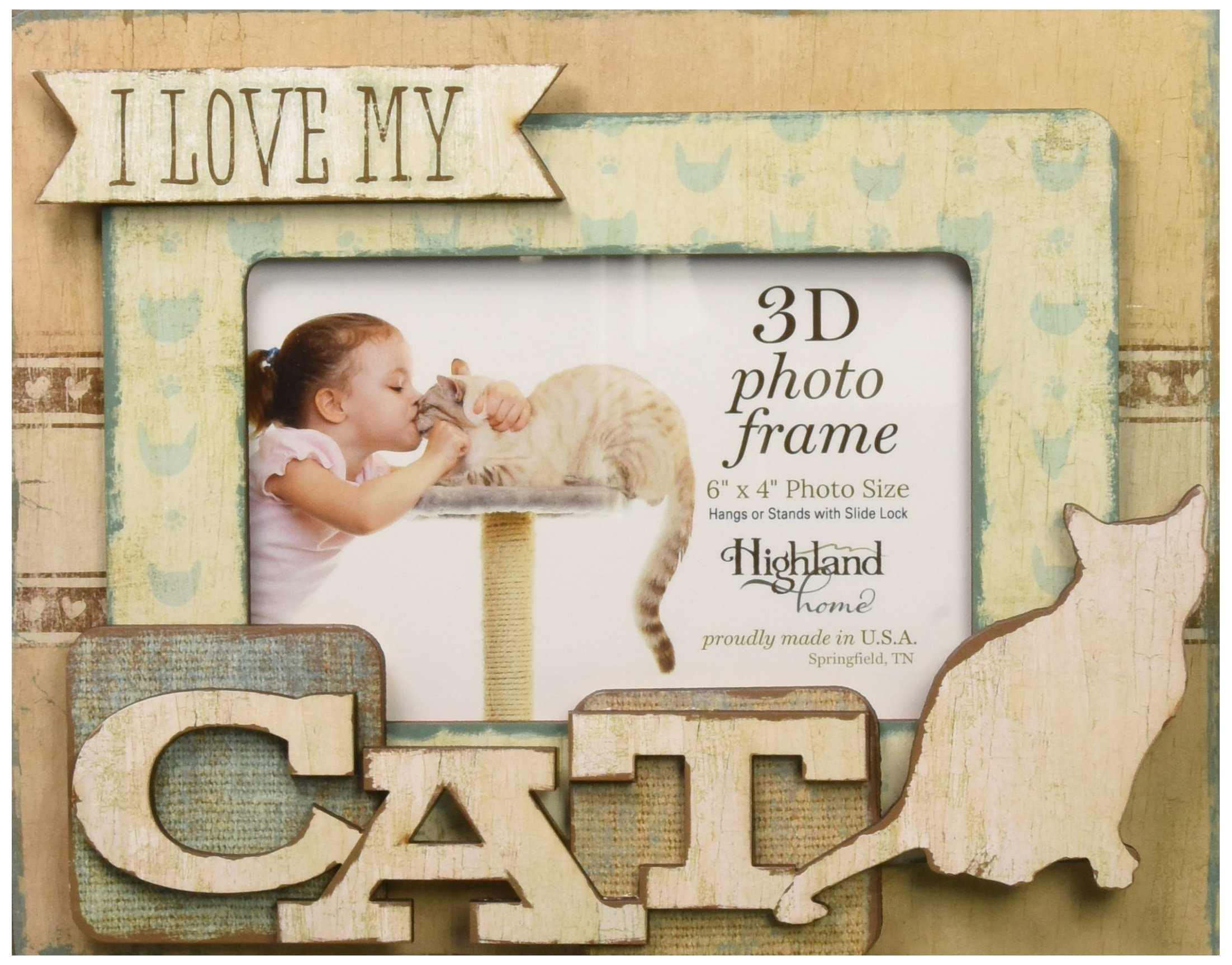 Highland Woodcrafters I Love My Cat 6''x4'' Wooden 3D Photo Frame