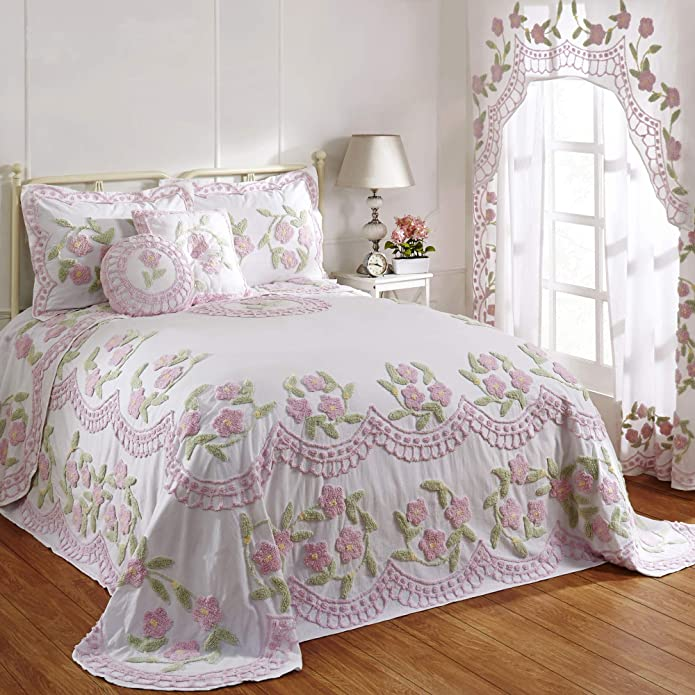 Better Trends Bloomfield Collection in Floral Design 100% Cotton Tufted Chenille, Twin Bedspread, Rose