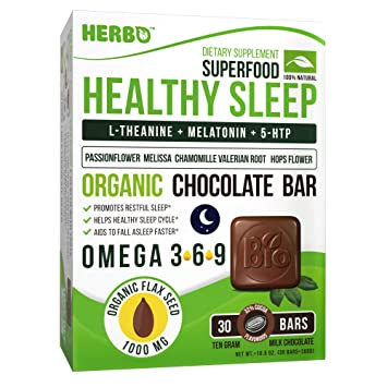 Herbo Superfood Healthy Sleep Aid Supplement in Organic Milk Chcoclate - Best for Insomnia - with