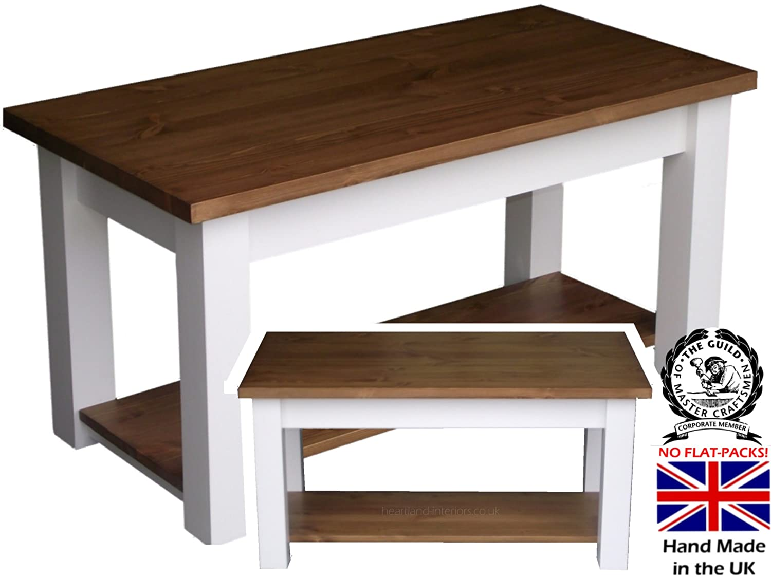Pine Shaker Coffee Table White Painted Waxed Contrast 4 With
