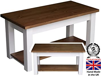 Pine Shaker Coffee Table White Painted Waxed Contrast 4