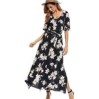 AL'OFA Boho Maxi Dress Women's Split Tie-Waist Vintage Print Bohemian Beach Dress