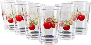 Reston Lloyd Harvest Apple Collection by Sandy Clough Acrylic Juice Glass 8 oz, Set of 6, Clear