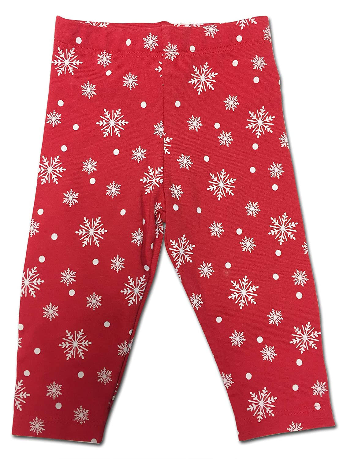 Sconosciuto F/&F Baby Girls Festive Christmas Snow Cute Unicorn And Renna Glitter White T-Shirt And Red Snowflake Pants