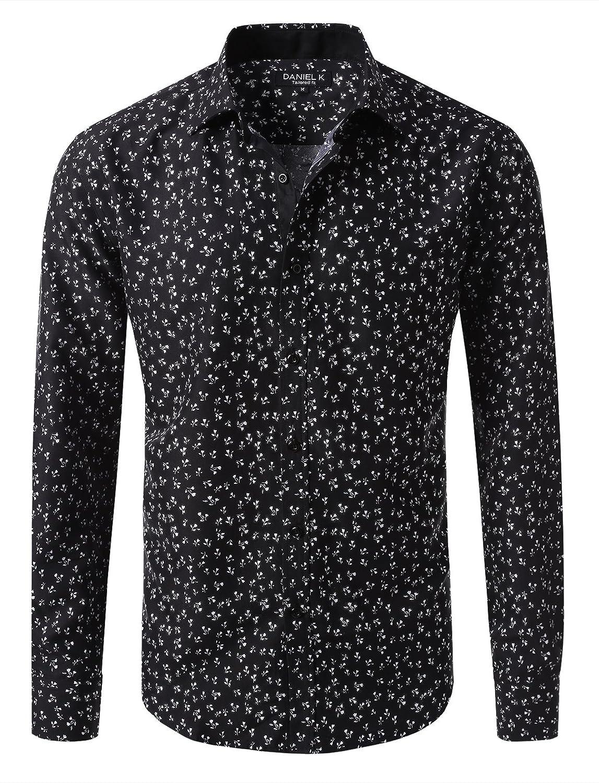 7Encounter Men's Spread Collar Patterned Cotton Oxford Long Sleeve Dress Shirt