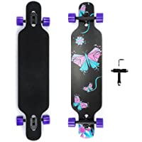 42 Inch Longboard Skateboard 9 Ply Natural Maple Complete Skateboard Cruiser for Cruising, Carving, Free-Style and…