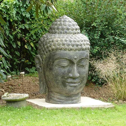 Figura decorativa para jardín (1,2 m, cabeza de Buda, gran piedra): Amazon.es: Jardín