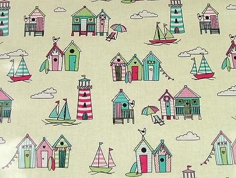 Happy Days diseño de casetas de playa tela de vinilo PVC limpiar mantel de hule mesa