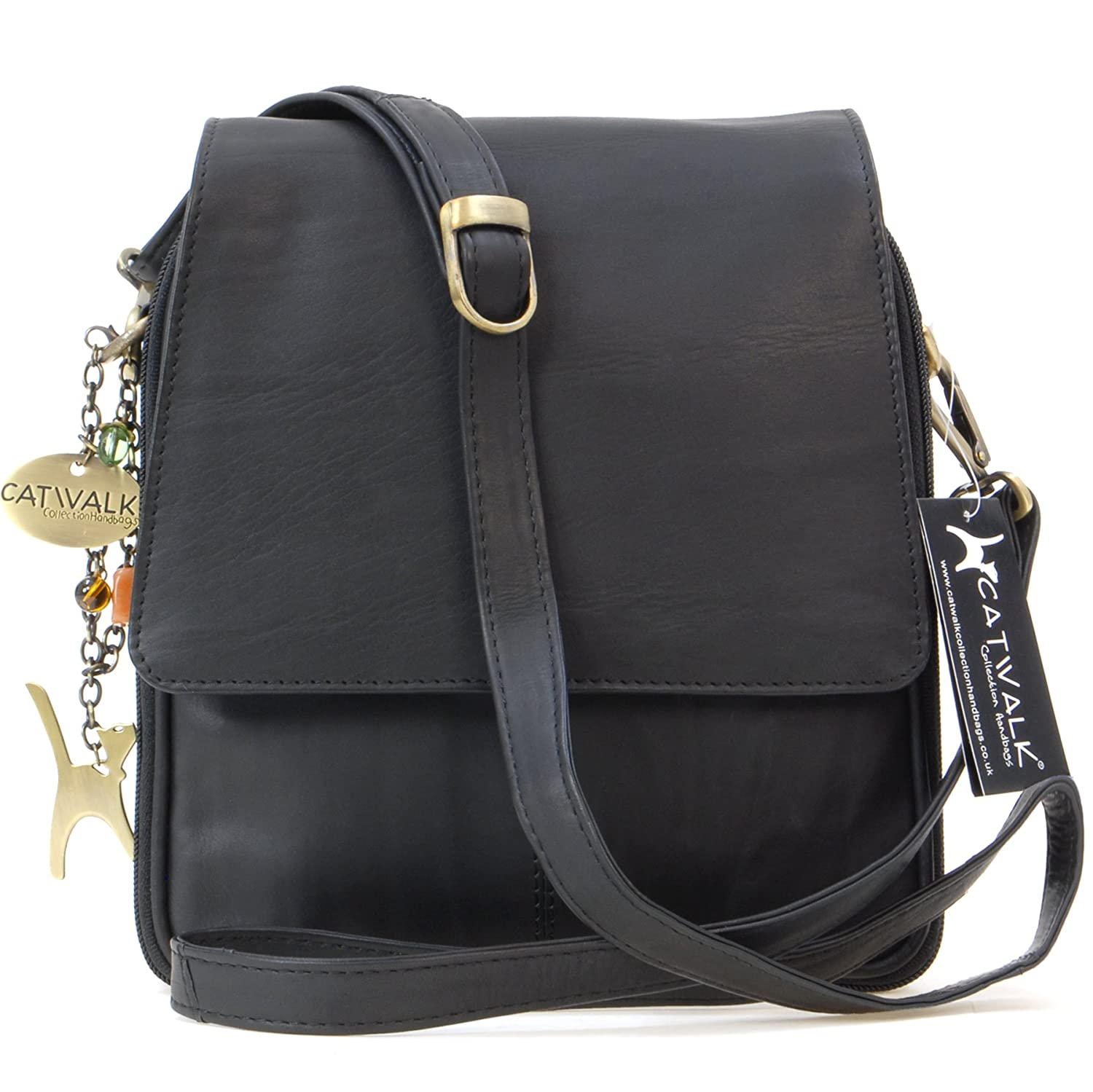 4a29f03f557b Catwalk Collection Leather Organiser Messenger Bag - Metro - Black(Size M)   Amazon.co.uk  Shoes   Bags