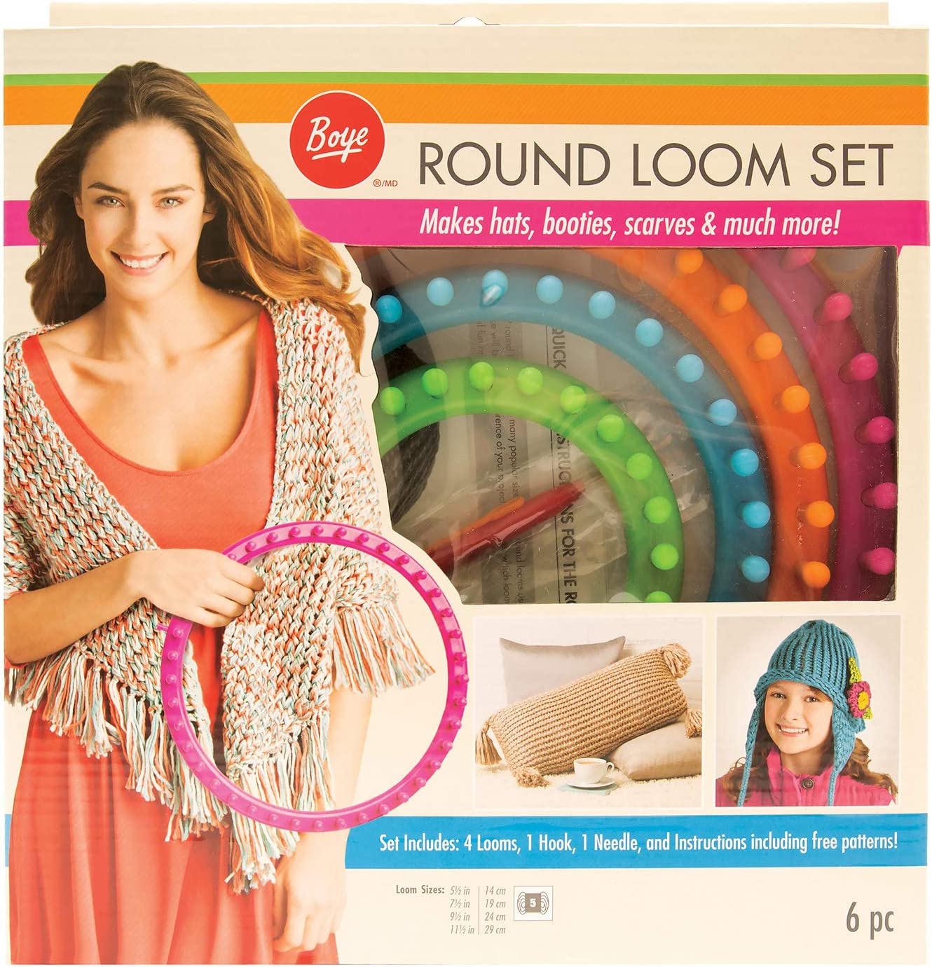 "Boye Round Knitting Loom Set, 7pc, 5.5"", 7.5"", 9.5"", and 11.5"" D"