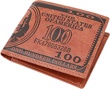 Hot Credit Card Men/'s Brown Purse Bifold Dollar Bill Pattern Wallet