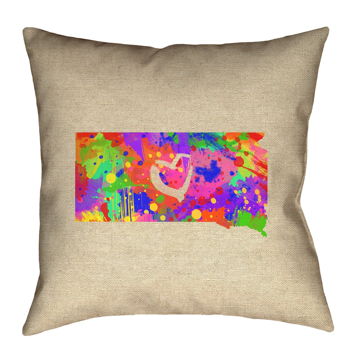 ArtVerse Katelyn Smith South Dakota Love Watercolor 26 x 26 Pillow-Spun Polyester Double Sided Print with Concealed Zipper /& Insert