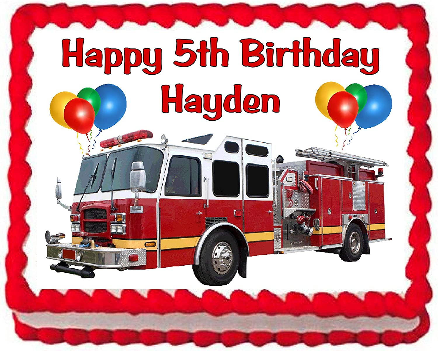 Remarkable Amazon Com Cakes For Cures Fire Truck Firetruck Edible Cake Image Funny Birthday Cards Online Alyptdamsfinfo