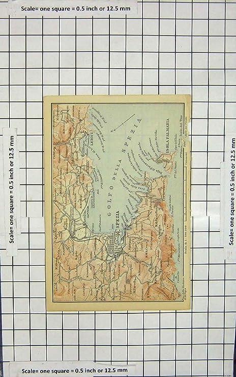 Lerici Italy Map.Old Antique Print Map Italy Spezia Isola Palmaria Lerici Golfo