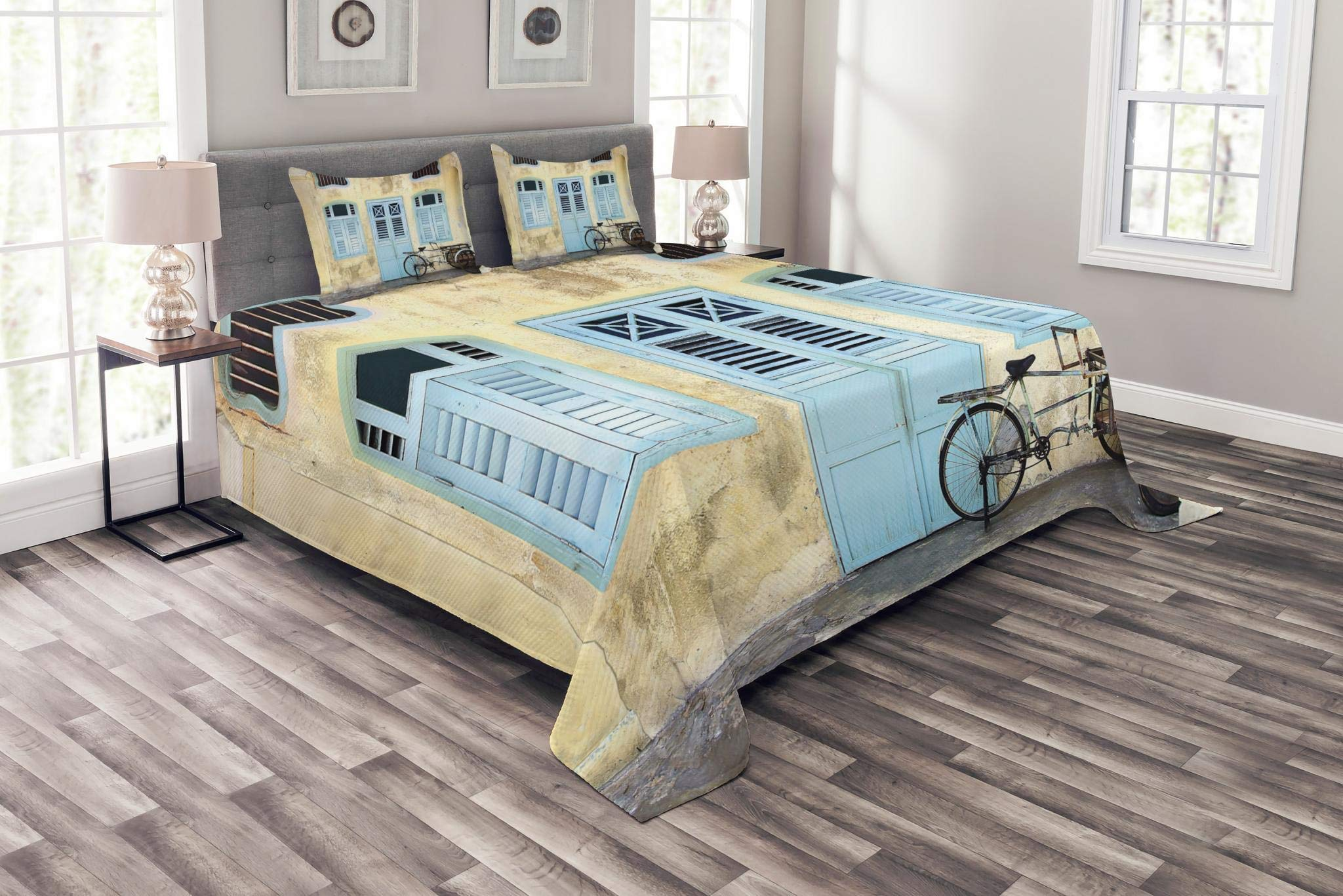 Lunarable Urban Bedspread Set King Size, Traditional House Facade with Colorful Door Windows Old Street Malaysia Photo, Decorative Quilted 3 Piece Coverlet Set with 2 Pillow Shams, Baby Blue Ivory