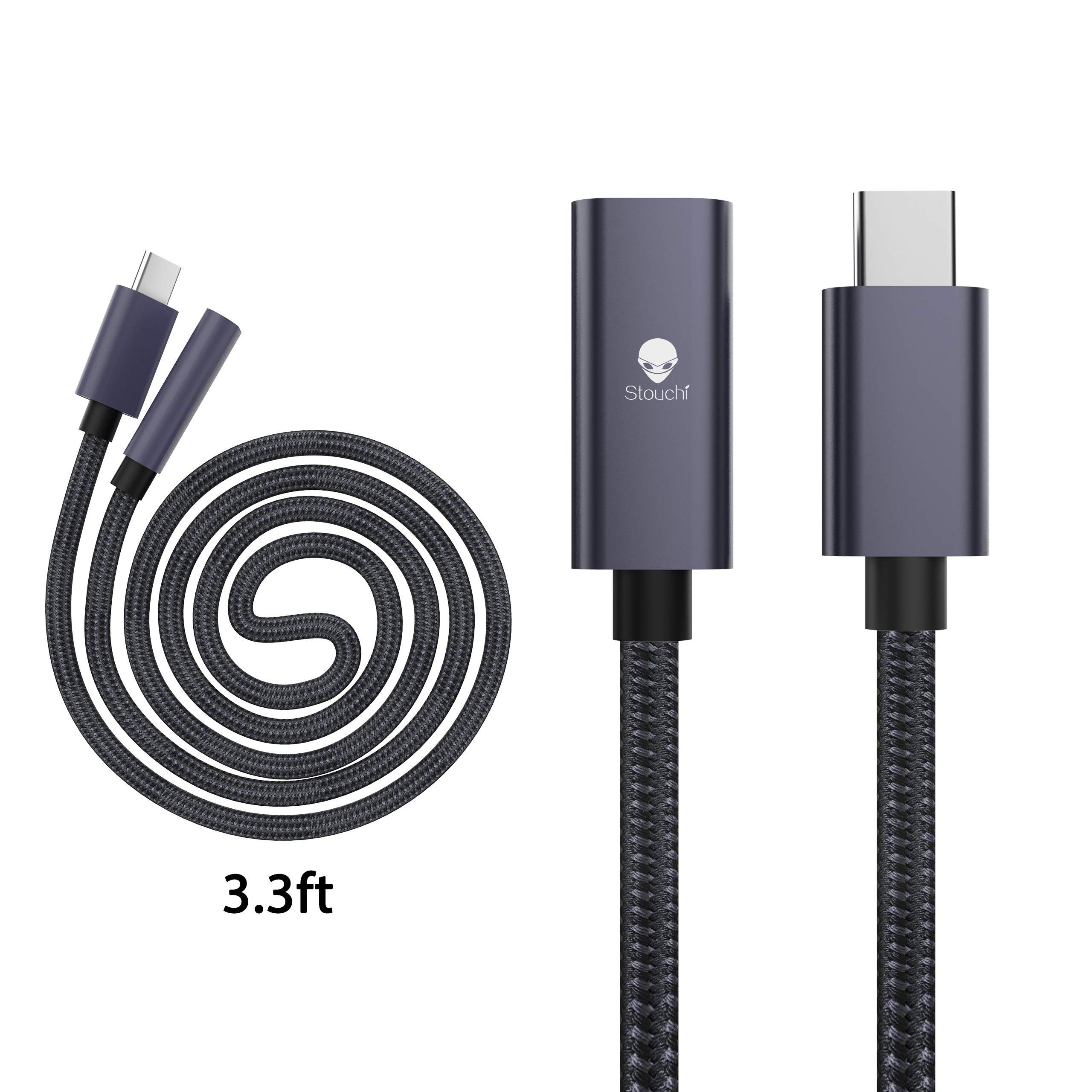 USB C Thunderbolt 3 Extension Cable,Stouchi USB Type C Male to Female Fast Charging & Audio Data Transfer Cable Compatible for Nintendo Switch, Thunderbolt 3 MacBook Pro, Google Pixel 2 2 XL 3(3.3 FT) by Stouchi