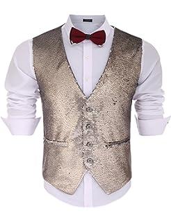 057148094402 COOFANDY Men's Slim Fit Sequins Vest V-Neck Shiny Party Dress Suit Stylish Vest  Waistcoat