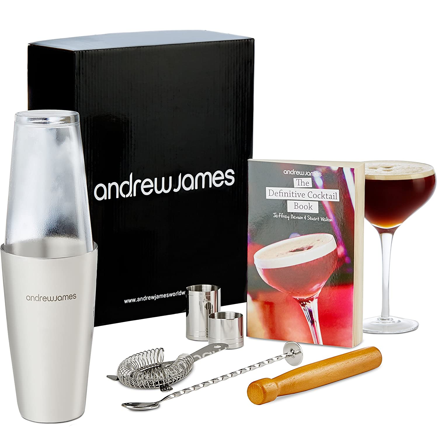 andrew james premium cocktail set including boston cocktail shaker  - andrew james premium cocktail set including boston cocktail shaker andglass twisted bar spoon strainer wooden muddler ml and ml  page cocktail