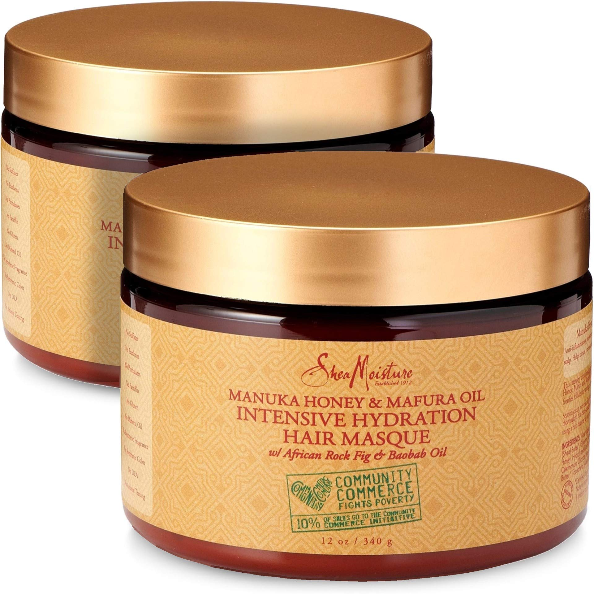 Shea Moisture Manuka Honey & Mafura Oil Intensive Hydration Hair Masque, with African Rock Fig & Baobab Oil, 12 Ounce - 2 pack by Shea Moisture