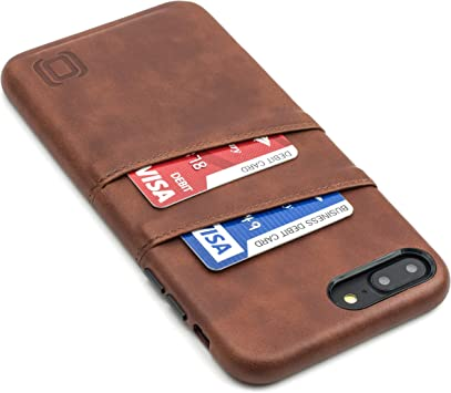 Brown Dockem Exec Wallet Case for iPhone 8 Plus and 7 Plus Minimalist Vintage Synthetic Leather Wallet Case; Slim Professional Executive Snap On Cover with 2 Card Holder Slots