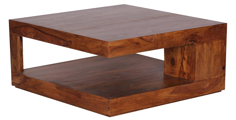 WOHNLING Couchtisch Massiv Holz Sheesham 90 Cm Breit Wohnzimmer Tisch Design Dunkel Braun Landhaus Stil Beistelltisch Natur Produkt Wohnzimmermbel Unikat