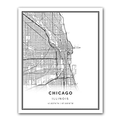 Chicago Map Wall Art Amazon.com: Chicago map poster print | Modern black and white wall